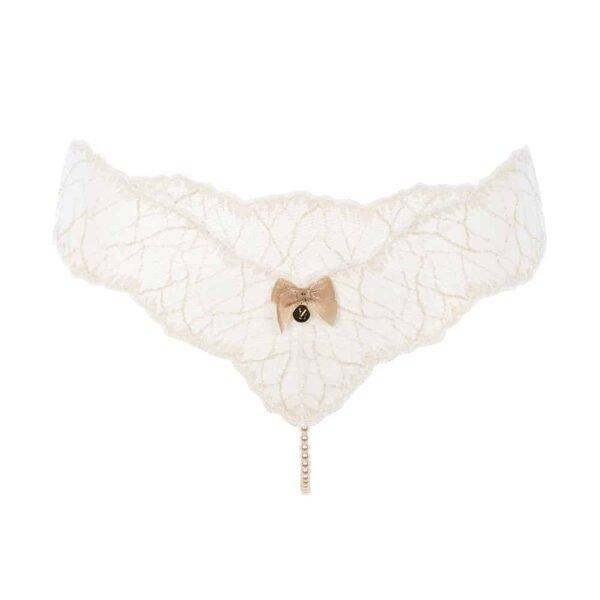 G-String avec perles stimulantes en dentelle ivoire collection SYDNEY avec petit noeud sur le devant BRACLI chez Brigade Mondaine