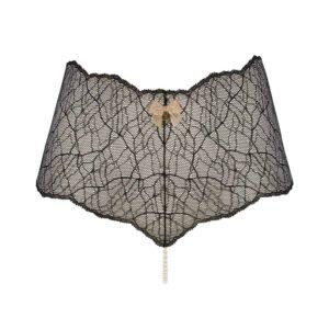 Bragas de cintura alta con perlas estimulantes en encaje negro Colección SYDNEY con pequeño lazo en la parte delantera BRACLI en Brigade Mondaine