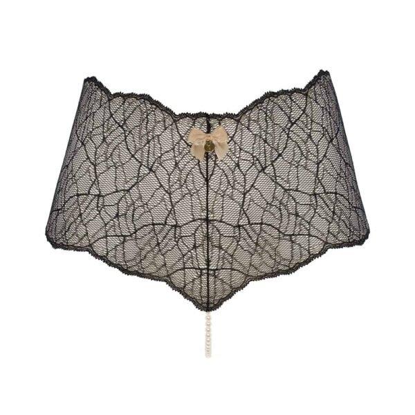 Culotte taille haute avec perles stimulantes en dentelle noire collection SYDNEY avec petit noeud sur le devant BRACLI chez Brigade Mondaine