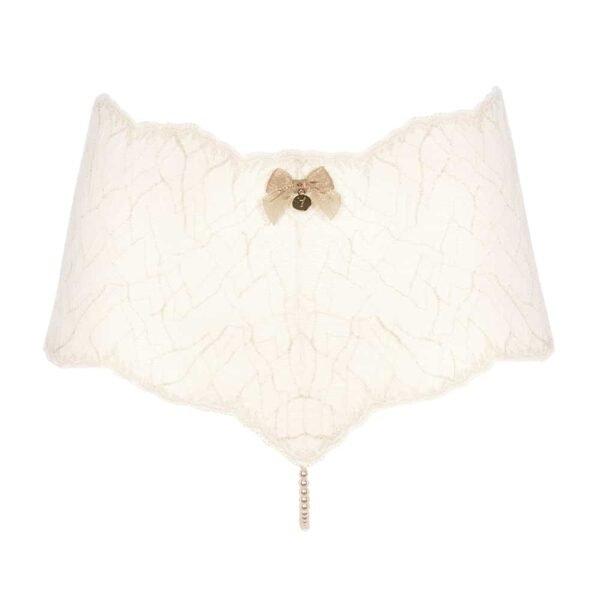 Calzoncillos de cintura alta con perlas estimulantes en encaje marfil Colección SYDNEY con pequeño lazo en la parte delantera BRACLI en Brigade Mondaine