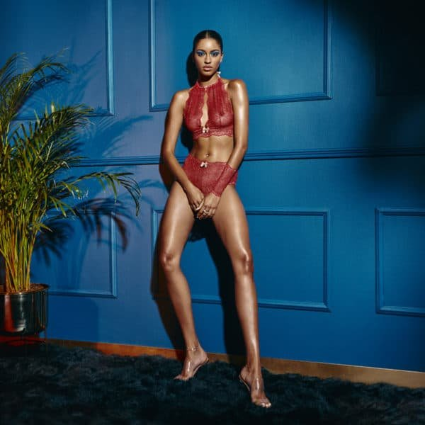 High waist briefs with stimulating red lace beads SYDNEY collection with small bow on the front BRACLI at Brigade Mondaine