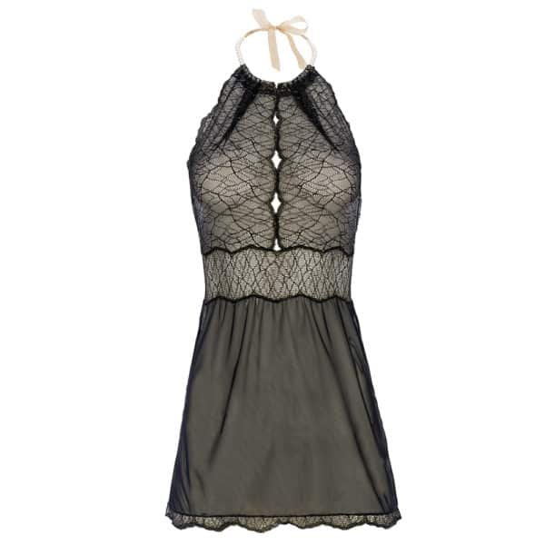 Babydoll Sydney Black by Bracli at Brigade Mondaine. This babydoll is in lace worked at the chest. The bottom of this babydoll is in lace illusion transparency. It is attached to the neck by small white beads delicate to tie with a satin ribbon.