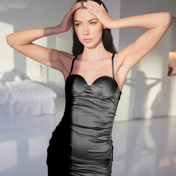Fitted black satin lingerie dress with bare back OW INTIMATES at Brigade Mondaine