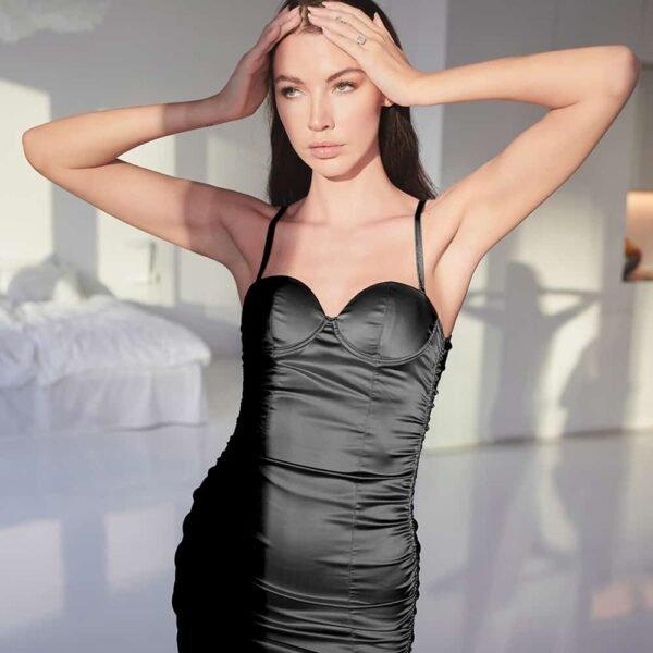 Vestido de lencería de satén negro con la espalda descubierta OW INTIMA a Brigade Mondaine