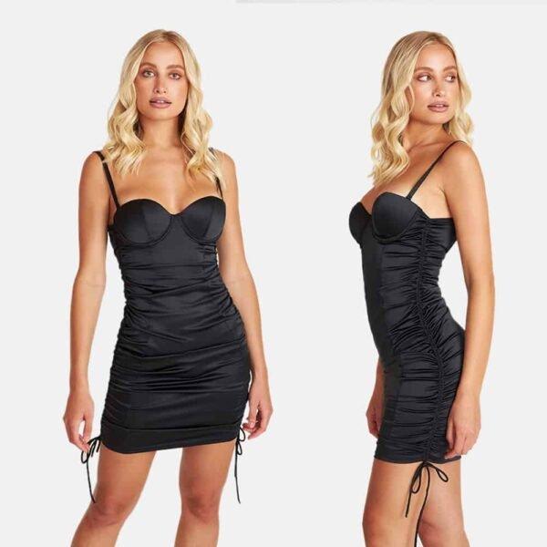 Встроенное черное атласное платье нижнего белья с голой спиной OW INTIMATES на Brigade Mondaine