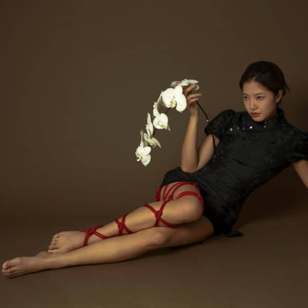 Красная веревка для шибари от бренда UPKO. На манекен надета переплетенная веревка длиной 10 м и диаметром 6 мм.