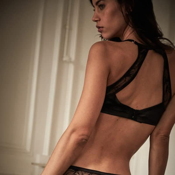 Open-backed floral lace and satin bralette from the Nuit à Broadway collection