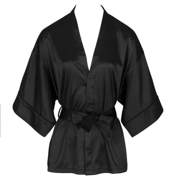 Kimono de raso negro con cinturón de raso negro no usado sobre fondo blanco vista frontal de la colección Nuit à Brodway by #039;Atelier Amour at Brigade Mondaine