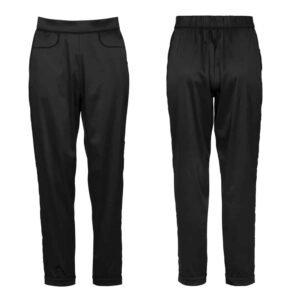 Pantalon noir en satin avec deux poches vue de face et de dos non porté sur un fond blanc de la collection Nuit à Brodway d'Atelier Amour chez Brigade Mondaine