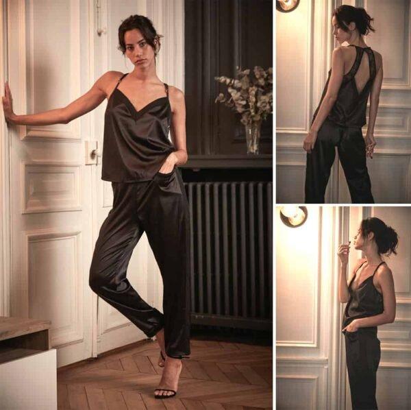 Pantalones y tops de encaje y satén de la colección Nuit à Broadway