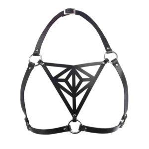 Harnais noir en cuir végétal avec des motifs triangulaires vue de face de Blasted Skin chez Brigade Mondaine