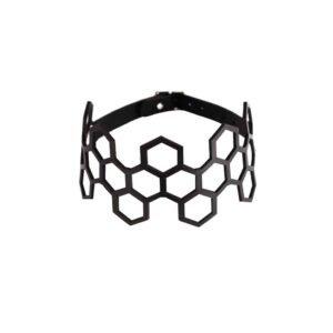 Черный кожаный дроссель воротник кружева шестигранной формы БЛАСТИРОВАННАЯ КОЖИНА на 1ТП5Т