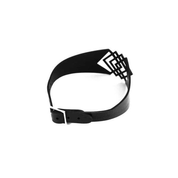 Black leather choker necklace lace square shape BLASTED SKIN at Brigade Mondaine