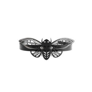 Black leather choker necklace lace moth BLASTED SKIN at Brigade Mondaine