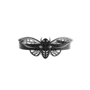 Collier choker en cuir noir dentelle papillon de nuit BLASTED SKIN chez Brigade Mondaine