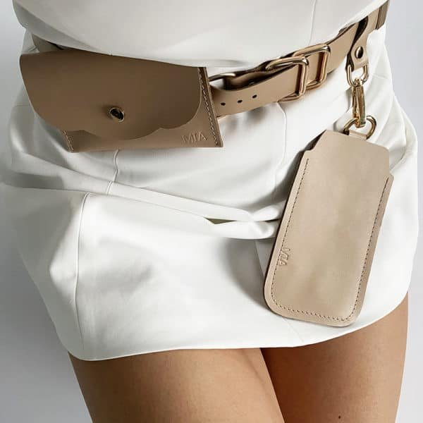ALBANE BELT with two removable beige leather pockets by MIA ATELIER at BRIGADE MONDAINE