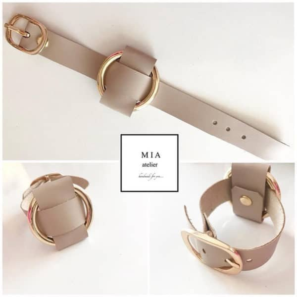 ANNA BRACELET in adjustable beige Nappa leather with a large gold metal ring by MIA ATELIER at BRIGADE MONDAINE
