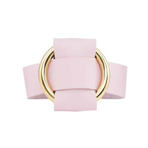 ANNA BRACELET in pale pink Nappa leather with a large gold metal ring by MIA ATELIER at BRIGADE MONDAINE