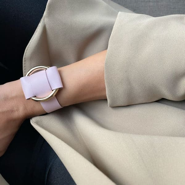 ANNA BRACELET in Pink Nappa Leather with a large gold metal ring in the middle of MIA ATELIER at BRIGADE MONDAINE