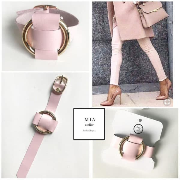 Adjustable ANNA BRACELET in pink Nappa leather with a golden metal ring in the middle, ideal for a chic outfit from MIA ATELIER at BRIGADE MONDAINE