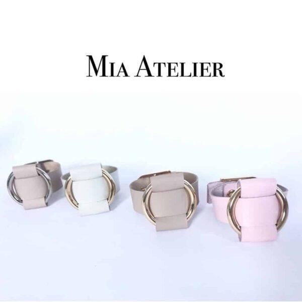 Collection d'ANNA BRACELET ajustable en cuir Nappa avec large anneau en métal doré de MIA ATELIER chez BRIGADE MONDAINE