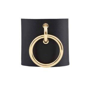 PULSERA MARIA / Brazalete de cuero negro con anillo de metal dorado de MIA ATELIER en BRIGADE MONDAINE