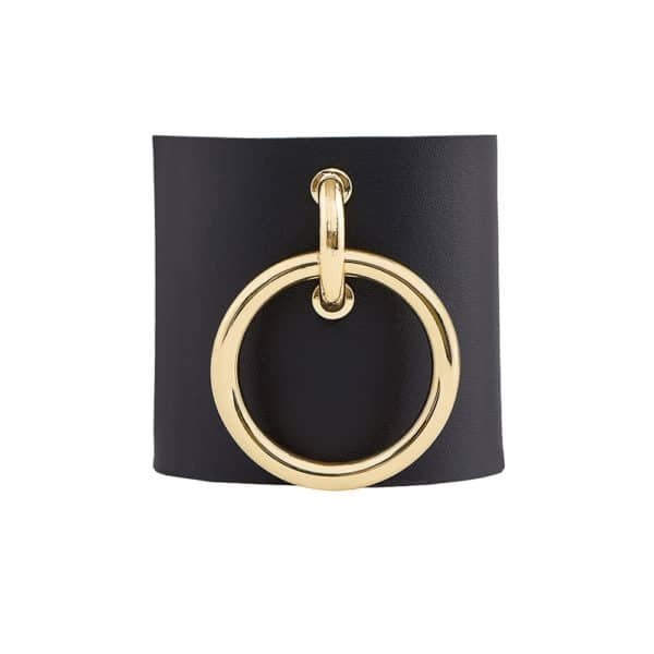 MARIA BRACELET / Black leather cuff with gold metal ring by MIA ATELIER at BRIGADE MONDAINE
