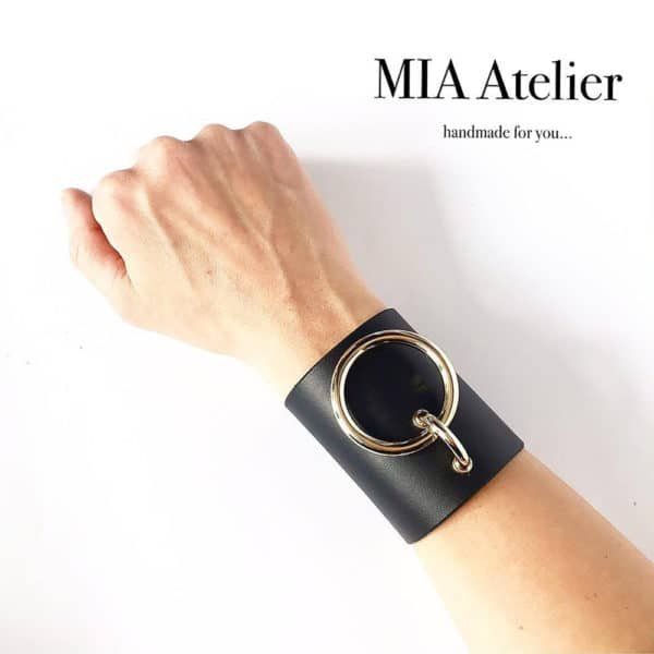 MARIA BRACELET in black leather with large gold metal ring by MIA ATELIER at BRIGADE MONDAINE