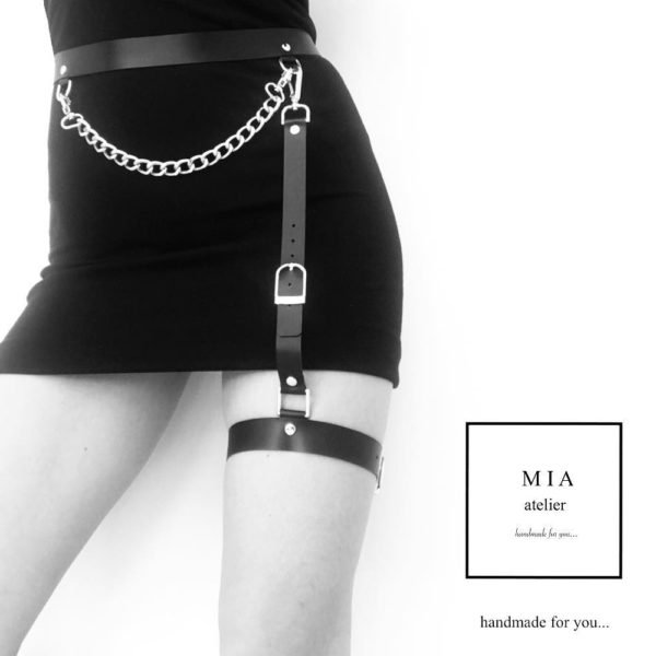 MINA BELT with chain, in black leather with gold metal finishes from MIA ATELIER at BRIGADE MONDAINE