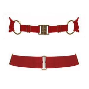 BELT Bondage ruby in satin elastic and plated d'24 Carat gold, adjustable, from the brand BODELLE collection Signature at BRIGADE MONDAINE