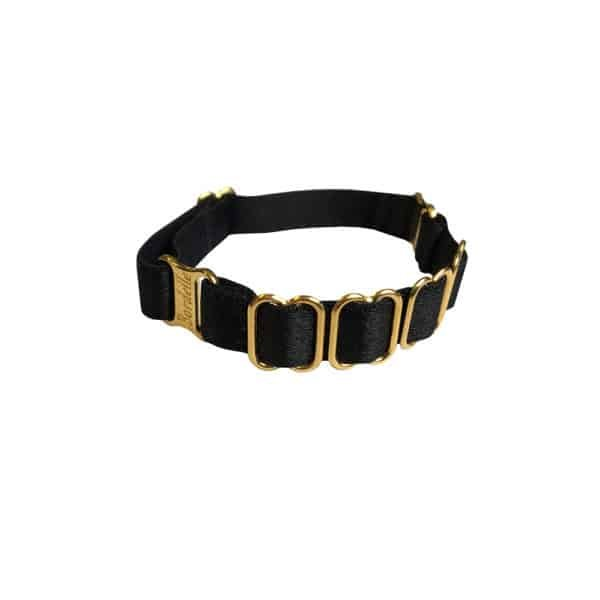 Adjustable black Kew Cuff, in satin elastic and 24 Carat gold plated, from the BODELLE brand SIGNATURE collection at BRIGADE MONDAINE