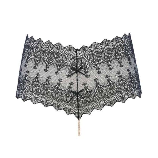 String PANTY noir transparent, en dentelle et en perles provenant de Majorque de la marque BRACLI collection GENEVA chez BRIGADE MONDAINE