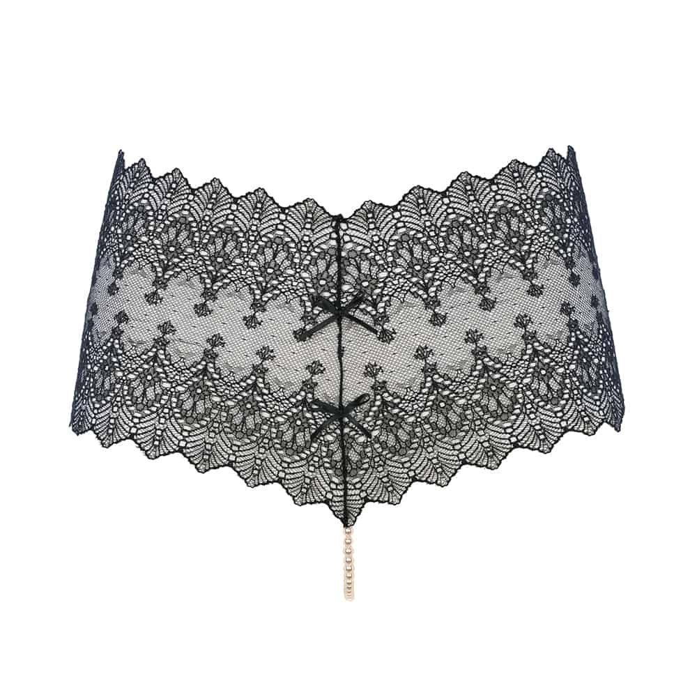 Tanga PANTY negra transparente hecha de encaje y perlas de Mallorca de la colección GINEBRA de la marca BRACLI en la BRIGADA MONDAINE