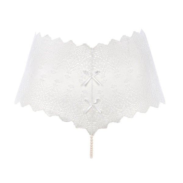G-string PANTY ivory, lace and pearls from Majorca from the BRACLI brand GENEVA collection at BRIGADE MONDAINE