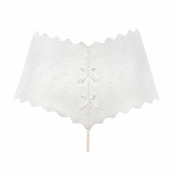 String PANTY ivoire, en dentelle et en perles provenant de Majorque de la marque BRACLI collection GENEVA chez BRIGADE MONDAINE