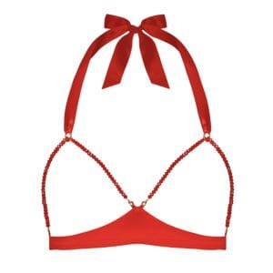 Red satin and red lace open bra with glass bead by CADOLLE from the GEISHA collection at BRIGADE MONDAINE