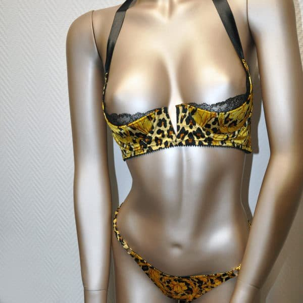 Lingerie set printed satin panther from CADOLLE collection SILK WILD at BRIGADE MONDAINE