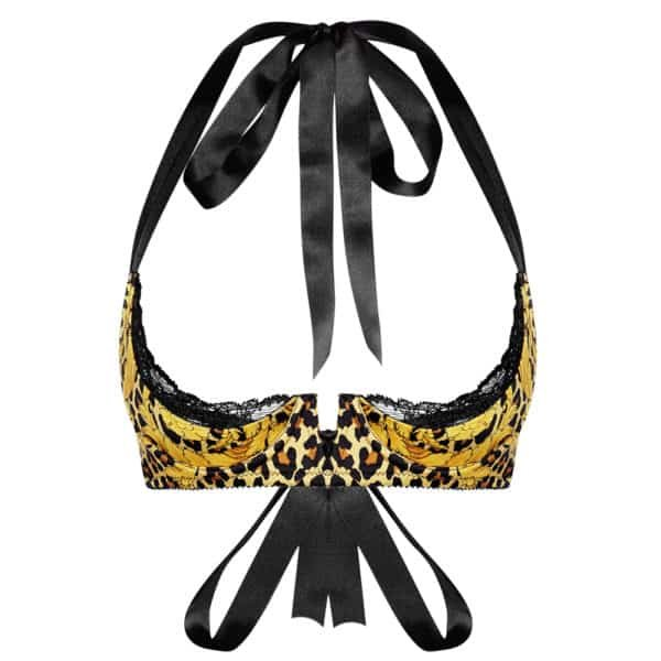 Silk open cup bra, panther print, adjustable from CADOLLE collection SILK WILD at Brigade MONDAINE