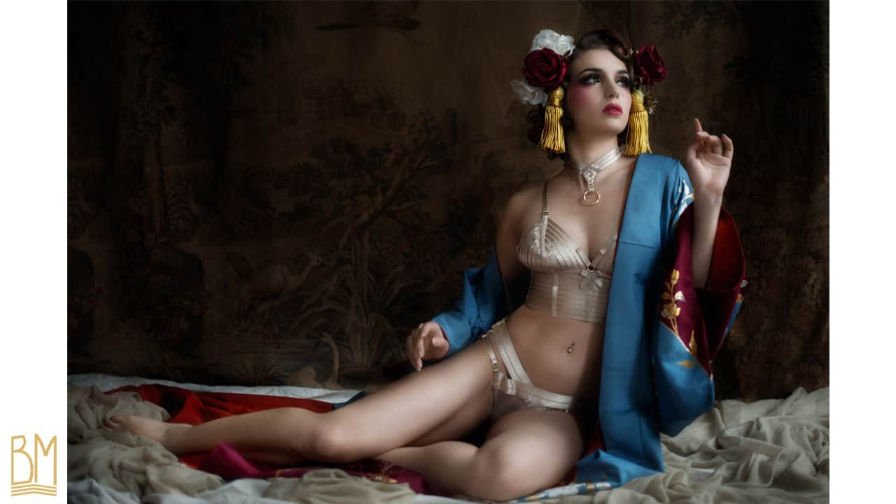 Lingerie set with choker, cream color in satin elastics and 24 Carat gold plated by BORDELLE collection SIGNATURE at BRIGADE MONDAINE