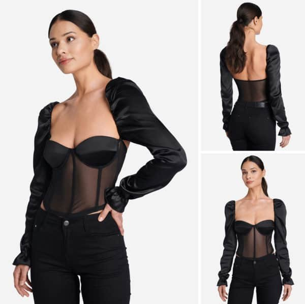 SHAE top, silk sleeves and semi-transparent corset by IW INTIMATES at BRIGADE MONDAINE