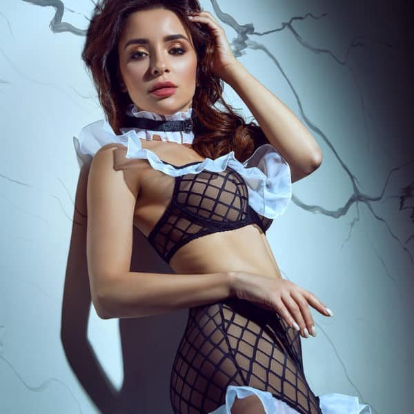 Conjunto de juego de rol de sirvienta sexy con gargantilla, disfraz de juego de rol en blanco y negro