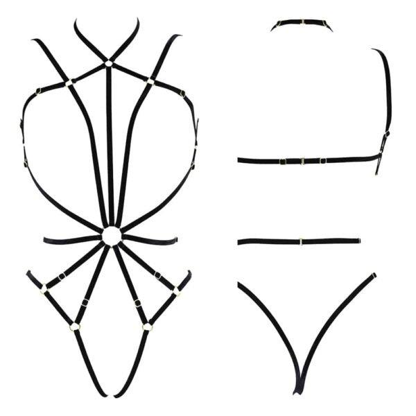 Black Playsuit gold plated EVA harness / body and adjustable velvet elastics by COUTURE DE NUIT at BRIGADE MONDAINE