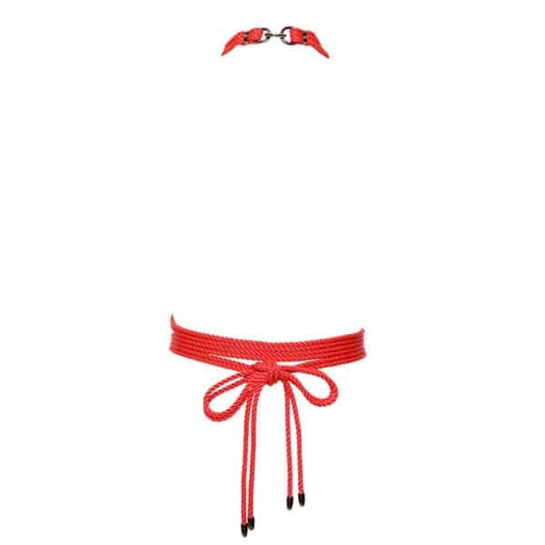 Red rope bdsm harness with black silver details