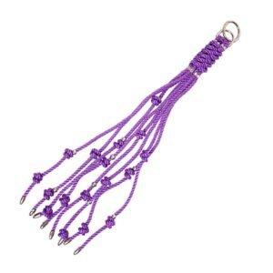 Porte Clés en forme de fouet shibari avec Noeuds violet et argenté