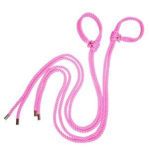 Наручники bdsm из розовой нити с серебряными деталями