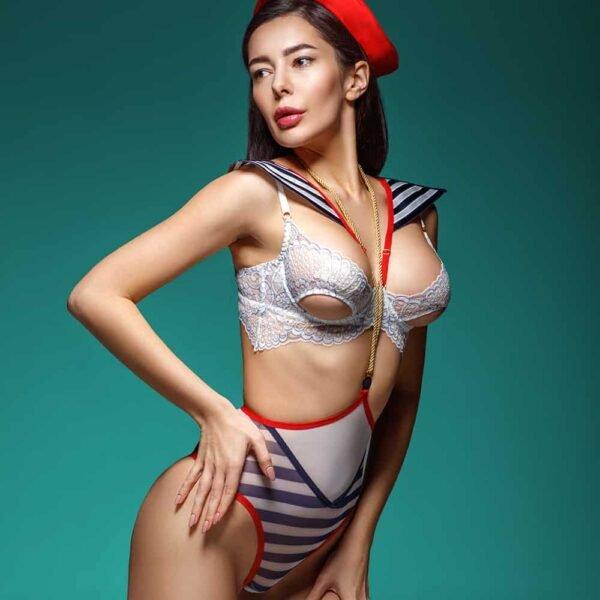 Синий бело-красный костюм моряка для ролевой игры
