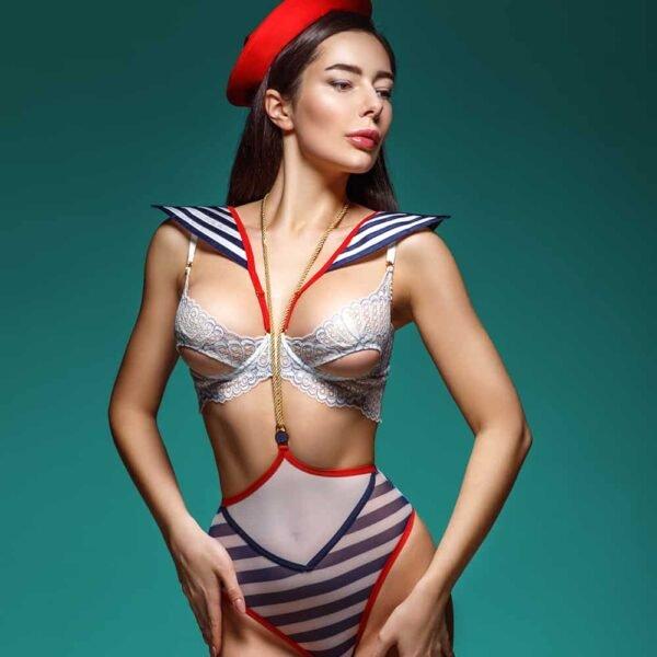 Disfraz de marinero azul, blanco y rojo para tu juego de rol