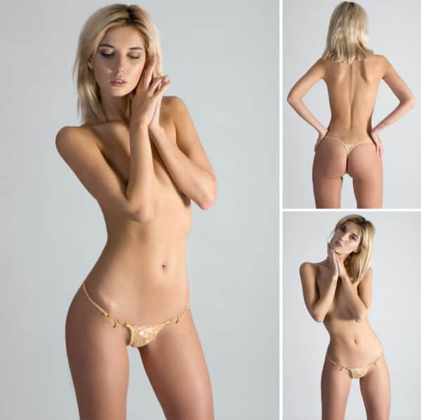 MIni G-string Gold Fever, gold-plated with gold-plated finishes, very indented