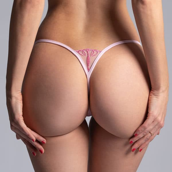Mini G-string Queen of Love in pink color, with crown on the l'at the front of the g-string, with d&#039 details;a jewel, very indented