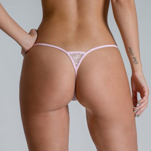 Mini G-string Bijou, white with pink color details